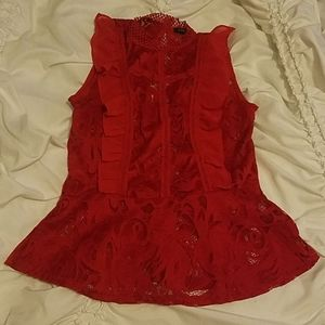 Hot red lacey blouse